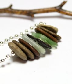 Beach Glass Stone Jewelry- Natural Seaglass Sea Pebbles Necklace- Silver Ball Chain Jewellery Handmade by Allybeans.
