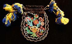 Native American Indian Metis Cree Beaded Bag Pouch Black Velvet Floral #Metis