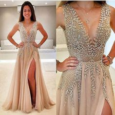 Gorgeous A-Line V-Neck Champagne Split-Front Long Prom Dress with Beading