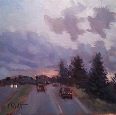 "Daily+Paintworks+-+""November+Sky+Dramatic+Sunset+Contemporary+Impressionism""+-+Original+Fine+Art+for+Sale+-+©+Heidi+Malott"