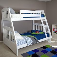 Classic timeless style and top-quality craftsmanship collide in the Logan Mission White Twin over Full Bunk Bed. Perfect for a multi-child room or for overnight guests to use this bunk comfortably sleeps up to three children. Safety rails surround the top bunk for extra peace of mind and it's accessed securely by the included ladder. Add the optional under bed storage drawers to make the most of the space in your child's room. These handy drawers