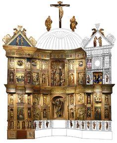 ALONSO BERRUGUETE: Composición propuesta del retablo original de San Benito de Valladolid. Museo Nacional de Escultura.
