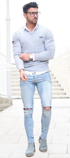 Random Spring 2017 Inspirations. rickysturn/mens-casual. I would probably wear a more fitted, non-distressed pair of jeans with this