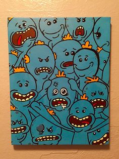 Original acrylic painting inspired by Rick and Mortys Mr. Meeseeks. 11x14 stretched canvas Acrylic Paint  **Please look at second photo (labeled Actual