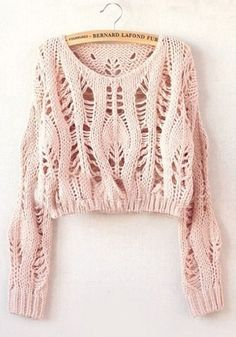"Diy Crafts - soywoolly-cicamejra: "" Pink Hollow-out Collarless Wrap Short Synthetic Fiber Pullover "" Knitwear Fashion, Knit Fashion, Summer Knitting, Hand Knitting, Col Crochet, Knitting Patterns, Crochet Patterns, Fashion Pattern, Diy Mode"