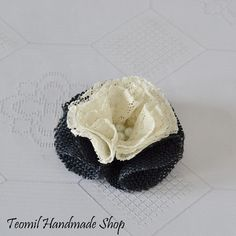 Navy Blue Burlap and Cream Lace Flower, Rustic Wedding Decoration - SET OF 10