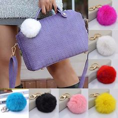 Colorful High Quality Bag Keychain Car Keyring Rabbit Fur Soft Ball Keychain Charming Keychain For Keys Bags