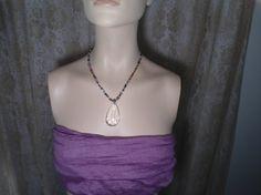Faceted Clear Pendant Handmade Beaded Necklace egl ooak rococo southwest hippie boho sundance style jewelry rustic by LandofBridget