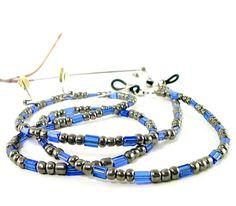 Cadena de lente, azul, gris, unisex, hombre, mujer, cadena de gafas, granos de cristal, sostenedor de la lente, gafas landyard on Etsy, $228.49