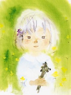 Girl Holding a Bunch of Bracken , 1972 by Chihiro Iwasaki, Japan Japanese Illustration, Graphic Illustration, Drawing S, Painting & Drawing, Photography Illustration, Draw Something, Paintings I Love, Book Authors, Iwasaki