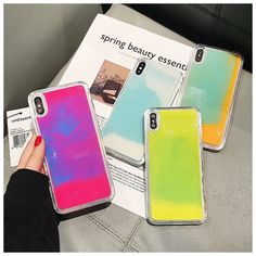 Luminous Neon Sand Solid color Case for iPhone XR XS max X 6 7 Glow In The Dark Liquid Glitter Quicksand Phone Case Please allow 2 weeks for delivery. Iphone 11, Iphone Cases, Iphone Mobile, Liquid Minerals, Glitter Phone Cases, Mobile Cases, 6s Plus, The Darkest, Glow