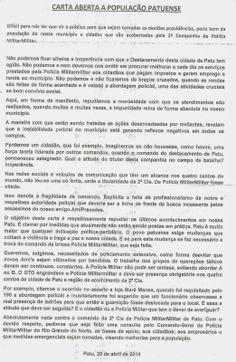 RN POLITICA EM DIA: CARTA ANÔNIMA RECLAMA DE INSEGURANÇA EM PATU.