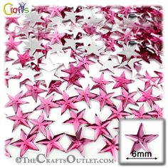 144-pc Acrylic foil Flatback Star shape Rhinestones 6mm Hot Pink