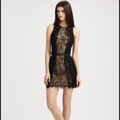"""Sachin + Babi Black/Nude McKenzie Lace Dress S A charming lace soft finished with soft front pleats and a waist-clinching skinny belt. Jewel neckline; 18"""" from natural waist. Belt not included. MSRP: $475, new with tags. Size S fits 0 and 2. Sachin + Babi Dresses"""