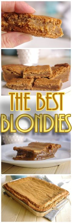 The BEST Blondies I've ever had! Blonde Brownies Cookie Bars Dessert Recipe - Ooey Gooey - The Caramelly texture of these is PERFECT and so Yummy!!
