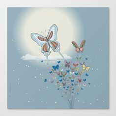 Butterflies Stretched Canvas by Lindha - $85.00