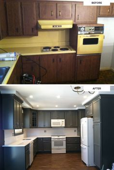 "Fan photos from Rebecca at Beck Contracting, LLC. She says, ""Everybody loves the grey hue!"" (Maple KraftMaid cabinets in Greyloft)"