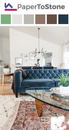 Living room color palette - apple-green black dark-cobalt-blue dark-grayish-red dark-tangelo