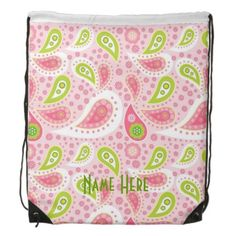 Baby girl gifts pink lime paisley drawstring backpack