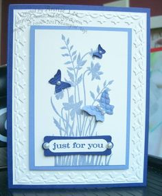 Stampin Up Beautiful Wings. Recreate this with simple silhouette foliage background stamp.