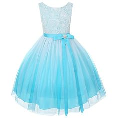awesome Aqua Ombre Rosette Special Occasion Flower Girls Dress Christmas Wedding 2-14 -Zipper Back closure with tie back sash Accented sash with heart rhinestone pin Tea Length & Finished with a shiny heart brooch. -http://weddingdressesusa.com/product/aqua-ombre-rosette-special-occasion-flower-girls-dress-christmas-wedding-2-14/