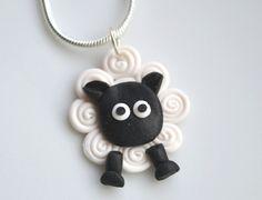 Miniature Sheep Necklace, Fimo, Polymer Clay. £8,00, via Etsy.