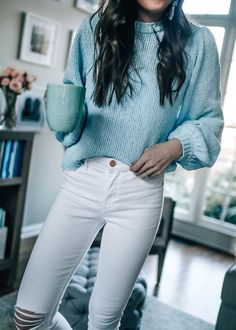 white distressed skinny jeans under $100, light blue spring sweater, casual outfit idea, @prettyinthepines