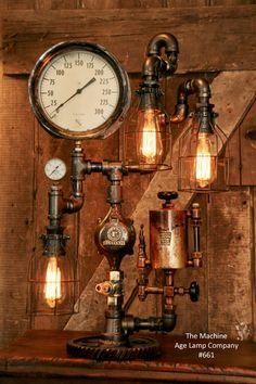 Steampunk pipe lamp, industrial, hit miss oiler, steam gauge, Edison builb