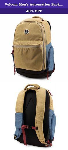 Volcom Men's Automation Backpack, Dark Khaki, One Size. Make life on the go a little bit easier with the automation backpack from Volcom. 37 liter carry capacity with a large main compartment, front pocket, separate laptop compartment with tablet sleeve, side zip pockets and a sunglass pocket. 20 x 12.5 x 9 inch.