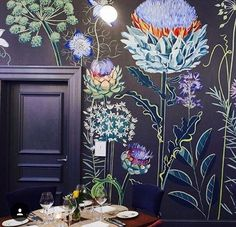 Obsessive compulsive crush on Lucy Tiffney wall murals. This wall art is beautif… - Wall Ideas Wall Design, House Design, Deco Cool, Of Wallpaper, Designer Wallpaper, Salon Wallpaper, Wallpaper Designs For Walls, Forest Wallpaper, Wall Treatments