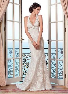 Buy discount Elegant Lace Halter Neckline Natural Waistline Mermaid Wedding Dress With Beadings at Dressilyme.com