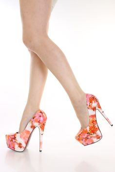 Orange Floral Platform Pump Heels