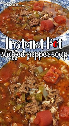 Instant Pot Stuffed Pepper Soup – Recipes That Crock! Instant Pot Stuffed Pepper Soup – Recipes That Crock!,Yum Looking for a quick recipe that is easy, hearty and delicious? Don't miss our Instant Pot. Instant Pot Dinner Recipes, Easy Soup Recipes, Quick Dinner Recipes, Easy Chicken Recipes, Instapot Soup Recipes, Summer Recipes, Meat Recipes, Crockpot Recipes, Recipies