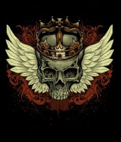 Winged skull with crown