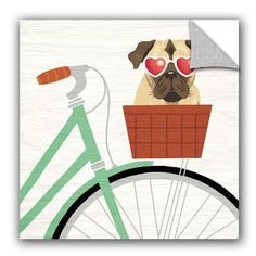 "ArtWall Michael Mullan Beach Bums Pug Bicycle I Wall Decal Size: 10"" H x 10"" W x 0.1"" D"