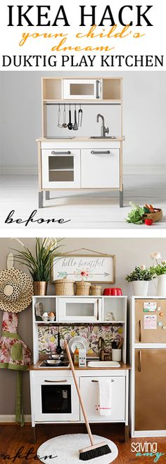 IKEA Hack: Building Your Child's Dream DUKTIG Play Kitchen #ikeahack #ikeahackers #ikeahacking #kidsroom #kidsdecor #playkitchen #playfood #momblogger #momblog #diyblogger #savingamyblog