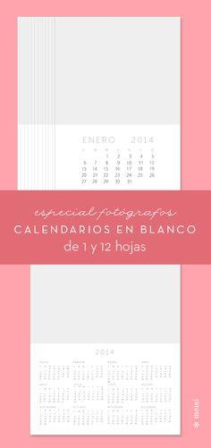 Plantillas de calendario en blanco para fotógrafos  #fotografos #plantilla #calendario