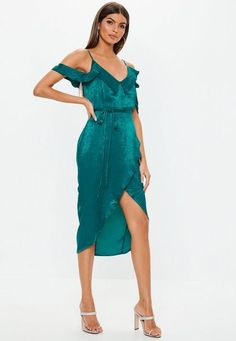 2a80d4437bf Missguided - Teal Cold Shoulder Satin Frill Midi Dress