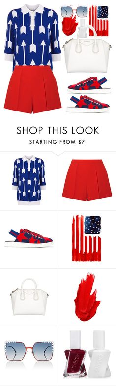 """Red white And Blue"" by thestyleartisan ❤ liked on Polyvore featuring Arthur Arbesser, Alice + Olivia, Hilfiger Collection, Monde Mosaic, Maybelline, Fendi and Essie"