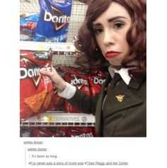 Are we not going to talk about the fact that she went to the store dressed like Peggy for that picture?