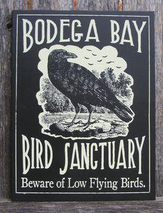 Hitchcocks The Birds Halloween Crow Sign.