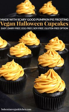 Make Halloween wicked delicious with these black chocolate coffee flavored cupcakes, topped with vibrant pumpkin pie frosting. These vegan Halloween cupcakes are easy to make, but result in a stunning finish that will put a spell on anyone who tastes them! #veganhalloweencupcakes #veganhalloweenrecipes #veganhalloweentreats #blackdesserts #veganhalloweendesserts #veganhalloweenfood #bohemianvegankitchen Cupcake Flavors, Flavored Cupcakes, Cupcake Recipes, Pie Recipes, Baking Recipes, Vegan Dessert Recipes, Vegan Recipes Easy, Halloween Cupcakes Easy, Holiday Cupcakes