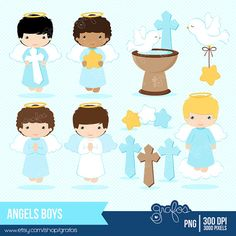 Browse unique items from GRAFOSclipart on Etsy, a global marketplace of handmade, vintage and creative goods. Boy Baptism, Christening, Communion, Kit Scrapbook, Angel Clipart, Cute Kids Pics, Baptism Decorations, Catholic Crafts, Baby Co