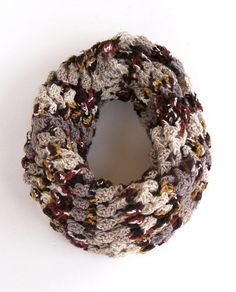 Infinity Scarf, knitted women scarves, fall colors, Circle Scarf, Neck Warmer ,brown and beige ,Crochet Infinity, for her, handmade scarves. $30.00, via Etsy.
