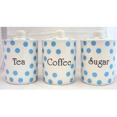 Baby Blue Spots Tea Coffee & Sugar Fine Bone China Canisters