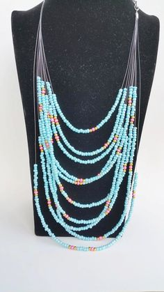 Boho dainty beaded layering necklace - multicolors - seedbead necklace - multiple strand - one of a kind Beaded Jewelry, Jewelry Necklaces, Layering, Turquoise Necklace, My Etsy Shop, Jewelry Design, Boho, Beads, Check
