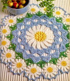 Finísima carpeta con diseño de margaritas al crochet
