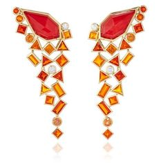 Stephen Webster Gold Struck Crystal Haze Long Red Coral Quartz Earrings featuring polyvore fashion jewelry earrings crystal jewelry long crystal earrings orange earrings gold jewelry 18 karat gold jewelry