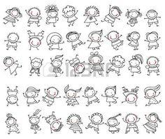 Group of children sketch - .- Gruppe von Kindern skizzieren – Outline Group of Children – - Doodle Art, Les Doodle, Doodle Drawings, Easy Drawings, Drawing Sketches, Doodle Kids, Family Stock Photo, Doodle People, Stick Figure Family