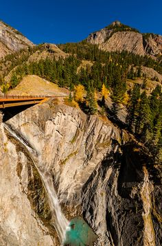 """Red Mountain Pass (called the """"Million Dollar Highway) in autumn, between Ouray and Silverton, Colorado USA. ♥"""